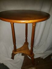 VINTAGE ROUND SOLID WOOD ACCENT END TABLE
