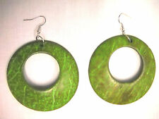 NEW LARGE LIME GREEN COLOR COCONUT WOOD DANGLING ROUND HOOP FASHION EARRINGS