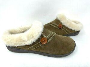 Clarks Women's Classic Alina Lined Indoor/Outdoor Slippers Drk Brn Size:9 140Q