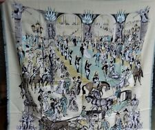 HERMES PM Silk / Cashmere Scarf SOIREE DE GALA Jean-Louis Clerc 90cm NIBWT