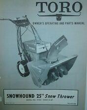 "TORO SNOWHOUND Snow Thrower 25"" Owner, Repair & Parts Manual 20pg Walk Behind"