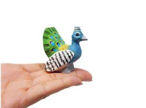 Peacock Figurine Statue Decor Small Garden Peafowl Lawn Wood Carving Miniature