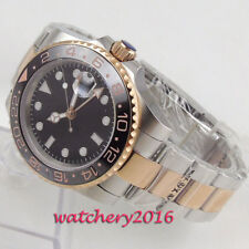 40mm Parnis GMT Automatic Men's Waterproof Sapphire Watch Ceramic Rotatig Bezel
