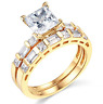 2.60 Ct Princess Engagement Wedding Ring Set Real 14K Yellow Gold Matching Band