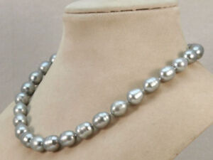 19'' AAA 10x12mm Natural South Sea Gary Pearl Necklace 14k Gold P Clasp