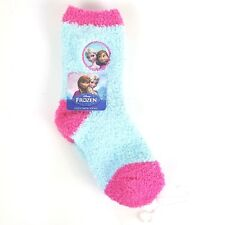 DISNEY FROZEN ELSA AND ANNA COZY SOFT CREW SOCKS , 7-9 , PINK AND BLUE NWT