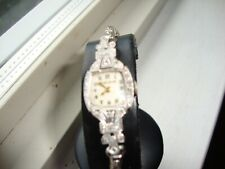 VINTAGE BULOVA LADIES DRESS WATCH  MODEL 5AB PLATINUM CASE DIAMOND BEZEL,SWISS