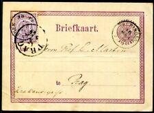 NIEDERLANDE 1869 18 auf GANZSACHE nach PRAG Seltene AUSLANDSKARTE(A8948
