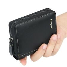 Men's Leather Bifold Credit Card Holder Wallet Zip Coin Pocket Billfold