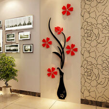 Fashion Home Wall Stickers DIY 3D Vase Flower Tree Crystal Arcylic Wall Stickers