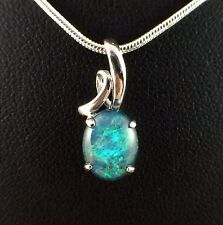 Genuine Aus Triplet Opal Necklace Pendant Blue Green 18 ct White Gold Plated