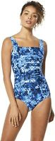 Speedo Women's 238907 Shirred Tank Moderate Cut One Piece Swimsuit Size 8