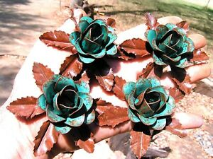 4 metal green roses, flowers & leaves for accents, embellishments