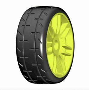 GRP TYRES REVO 1:8 GT - T01 - S4 Soft/Medium - Spoked Yellow Wheel - 1 Pair