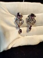 Purple Amethyst Sterling Silver 925 Pear Shaped Earings