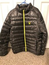 Spyder Mens Puffer Down Jacket Size XL Olive Green EUC