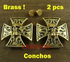 2pcs Brass Leathercraft Flame Skull rivet stud screw back Conchos Fob Wallet