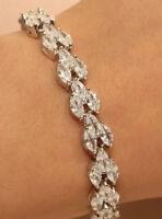 18k White Gold Finish Diamond Tennis Bracelet 2ct Marquise Cut Beautiful