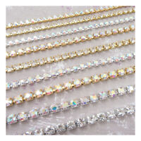 AB Silver Gold Crystal Stitch on Diamante Rhinestone Rope Chain ss8 ss12 ss16