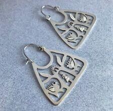 Mexican 925 Silver Signed Cut Out TREE of LIFE Handcrafted Frida Huge Earrings