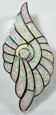 Huge White Fire Opal Inlay 925 Sterling Silver Seashell Pendant For Necklace