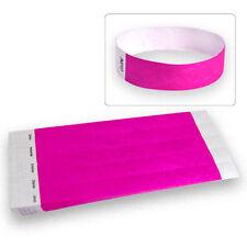 """3/4"""" Tyvek Wristbands Neon Pink-100 Count"""