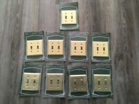 Lot of 9 Switch Plates Outlet Covers Plated Brass