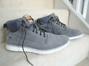 TIMBERLAND GREY LEATHER ANKLE BOOTS SIZE UK 11 / 45.5 EXCELLENT CONDITION