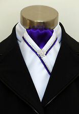 "ERA ""Rachael"" White Stock Tie - Purple Centre - Silver & Purple Piping & Pin"