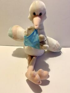"""1986 Applause 20"""" Windup Musical Lullaby Moving Stork Bundles Carrying Baby Bear"""