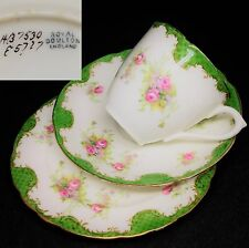 Royal Doulton c1910 E5727 HB7530 Green English Vintage Bone China Trio Set
