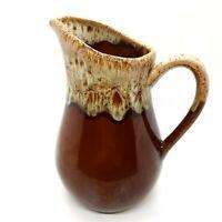 Brown Drip Glaze Stoneware Pottery Pitcher Vintage G-5