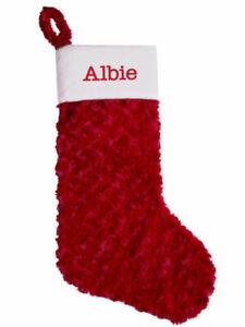 Personalised Christmas Stocking,Plush Red Xmas Stocking Large Red or Grey