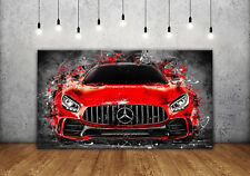 Leinwand Bild Mercedes AMG GT Auto Modern Abstrakt Poster Wandbild XXL