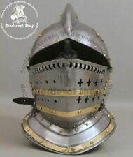 Burgonet helmet medieval ancient armour helmet with brass bidding