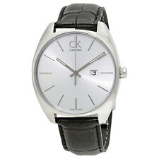 Calvin Klein Exchange Silver Dial Black Leather Mens Watch K2F21120