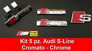Kit 5 pz. Audi S-Line Cromato 3D adesivo logo badge Fregio A1 A3 A4 A5 Q3 Q5 A6