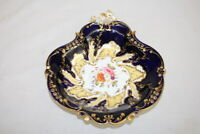 "Antique Coalport 10"" Reticulated Black and Gold Serving Bowl Dish Pre-1840"