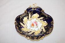 "Antique Coalport 10"" Reticulated Black and Gold Serving Bowl Dish Pre-1840"