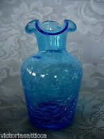 Collectible Turquoise Blue Hand Blown Crackle Glass Ruffle Vase-Rough Pontil