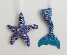 Christmas Ornament Felt Embroidery Kit Sequin Mermaid Tail and Starfish