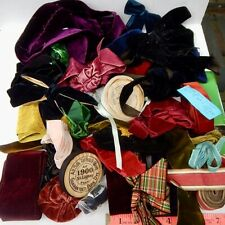 1 lb. Antique Lot of soft Velvet Ribbon Trimming Bows Millinery Dress Doll used