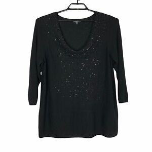 EILEEN FISHER Merino Wool Glass Beaded Drape Sweater Sz 1X Black Pullover Top