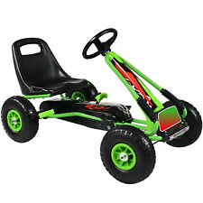 Pedal Go Kart Kids Childrens Ride On Car Racing Toy Rubber Tyres Wheels in Green