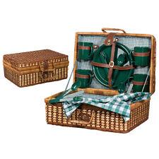 Picknickkorb aus Rattan für 4 Personen - farbiges Geschirr - mit Tischdecke