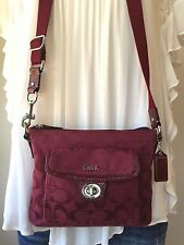 COACH Park Crimson Burgundy Berry Signature Pocket Crossbody Swingpack Bag 45026
