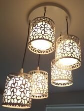 Ceiling Light Fitting Stunning White Metal Cut Out Flower Design Glass Shades