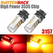 2x 3157 Red/Yellow Dual Color Switchback 3535 LED Lights Bulbs