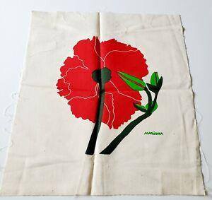 """Vtg Marushka Screen Print Textile Red Flower 20.5""""x 18.5"""" Unframed"""