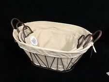 New 3pc set  Oval Brown Iron Rustic Metal Basket With Linen Lining & Handle